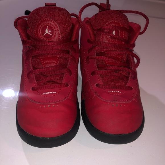 Red and Black Kids Jordan Shoes